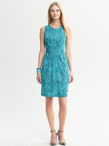 Blue Ceramic Printed Wrap-Tie Dress